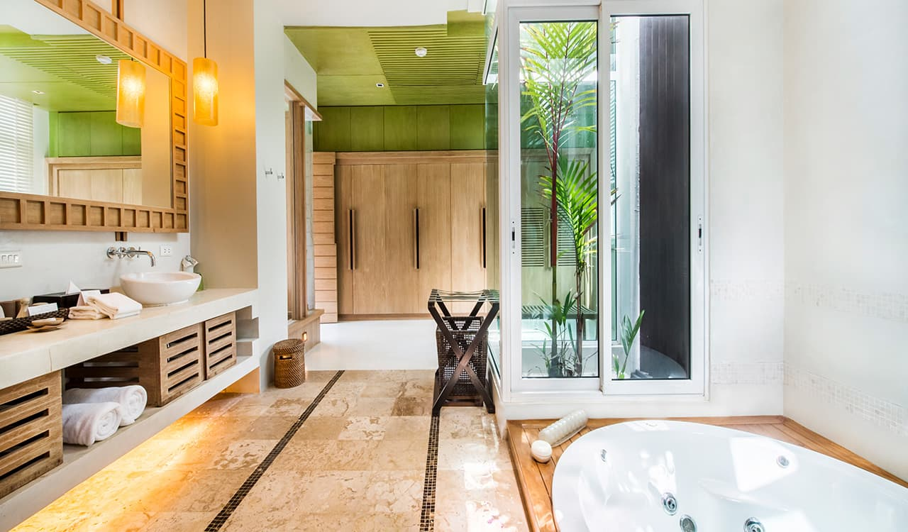 4 Bed Beach Villa - Bathroom with Jacuzzi Bath Tub and Rain Shower - Aleenta Phuket Resort & Spa