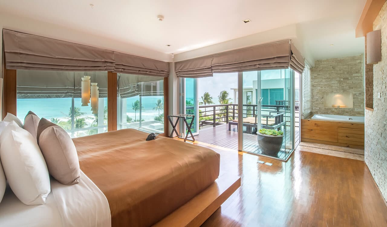 1 Bed Pool Suite Residence - Bedroom leading to Balcony with Sea View - Aleenta Phuket Resort & Spa