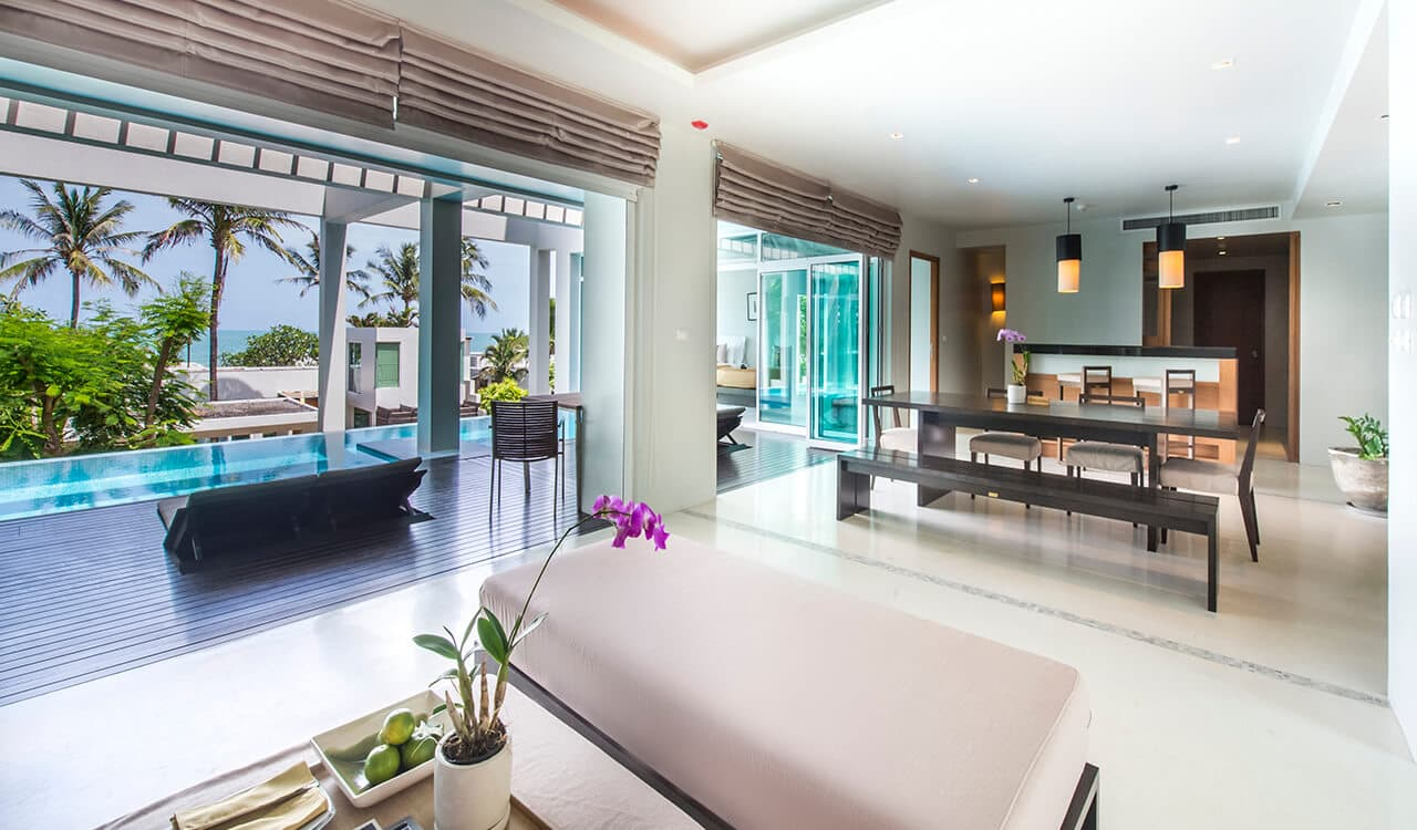 2 Bed Pool Villa Residence - Open Plan Lounge and Swimming Pool - Aleenta Phuket Resort & Spa