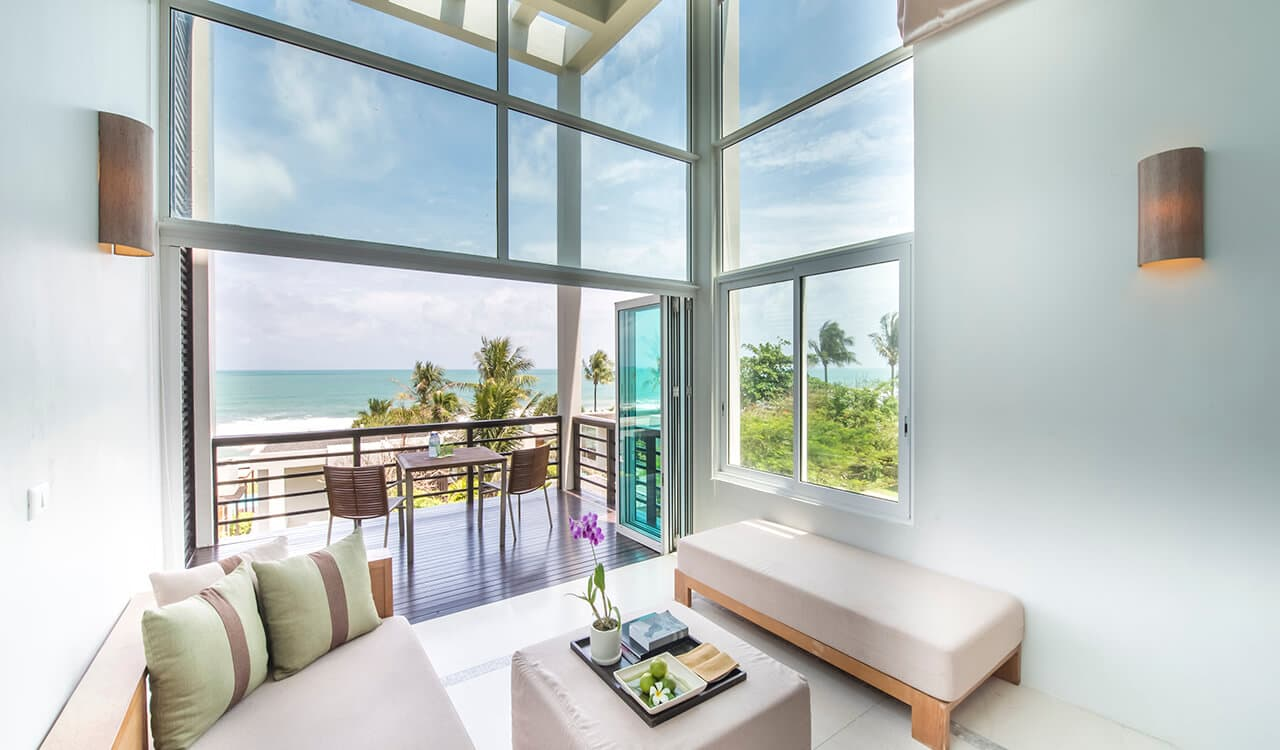 1 Bed Pool Suite Residence - Glass Fronted Lounge Balcony with Sea Views - Aleenta Phuket Resort & Spa