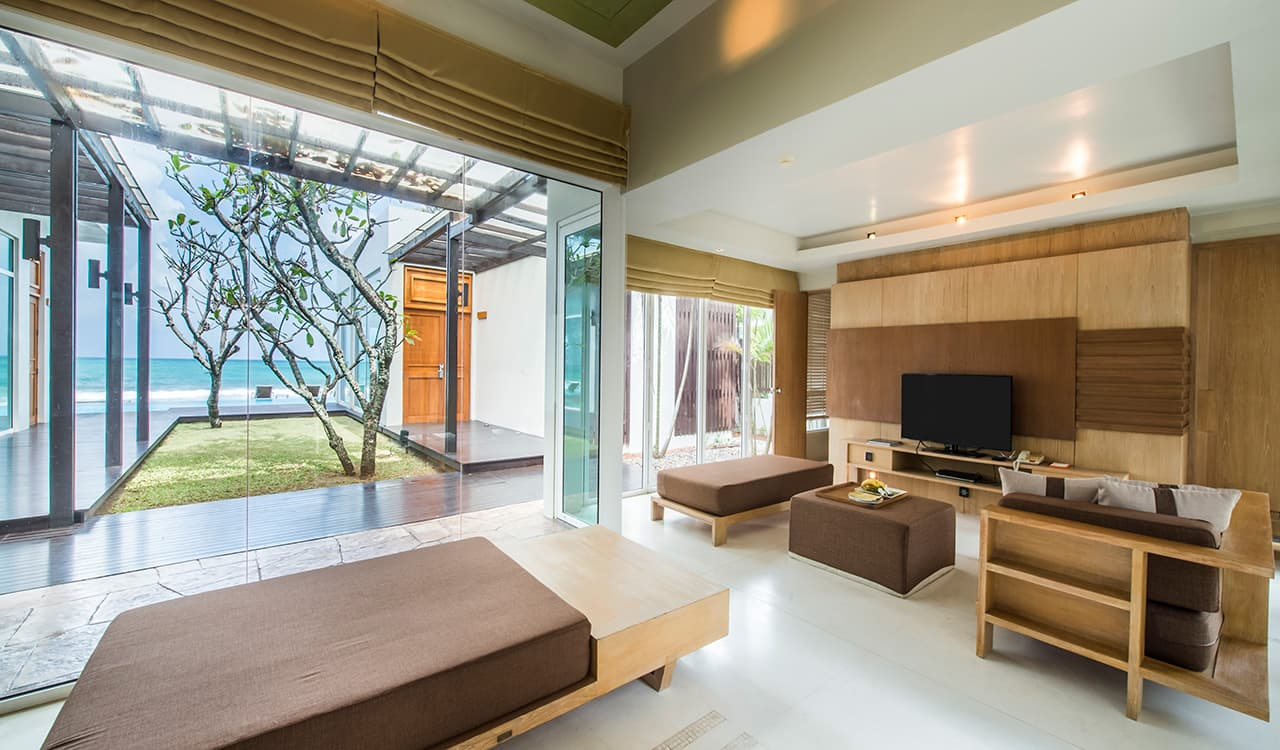 4 Bedroom Beach Villa - Living Room with Sea View - Aleenta Phuket Resort & Spa