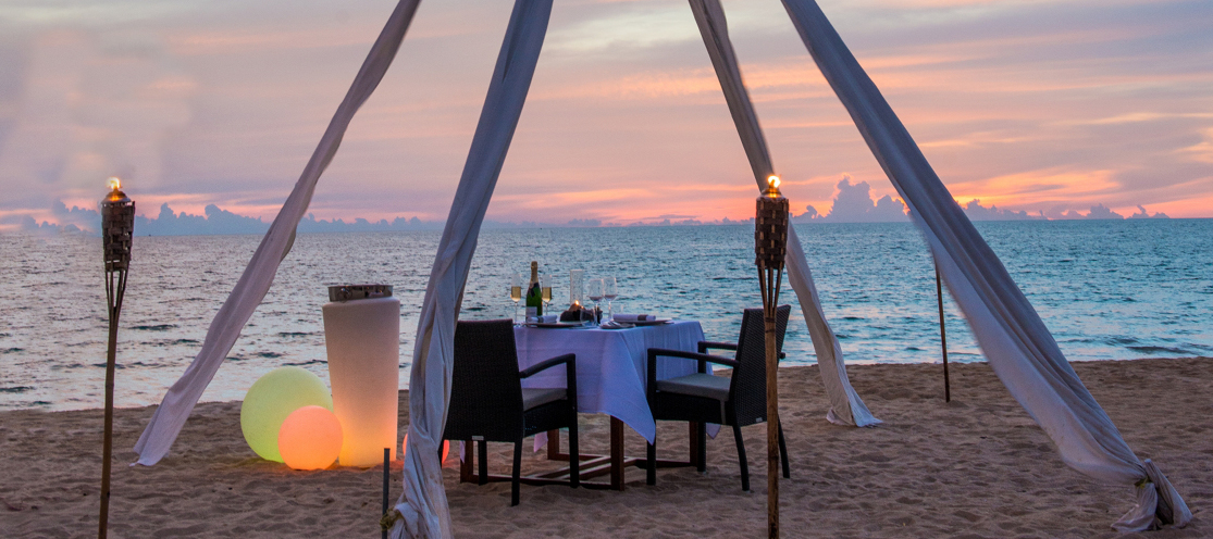 Private Dining on the Beach at Aleenta Resorts