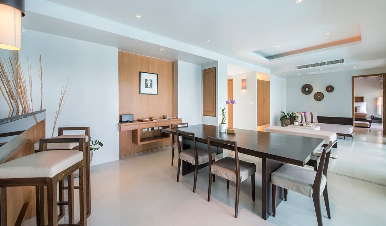 2 Bed Pool Villa Residence - Open Plan Dining Room and Lounge - Aleenta Phuket Resort & Spa