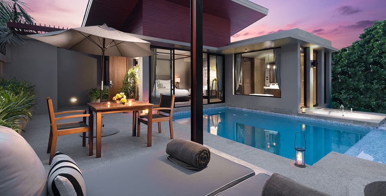 Deluxe Pool Villa - Sun Beds and Outdoor Dining Area Next to Swimming Pool - Aleenta Phuket Resort & Spa