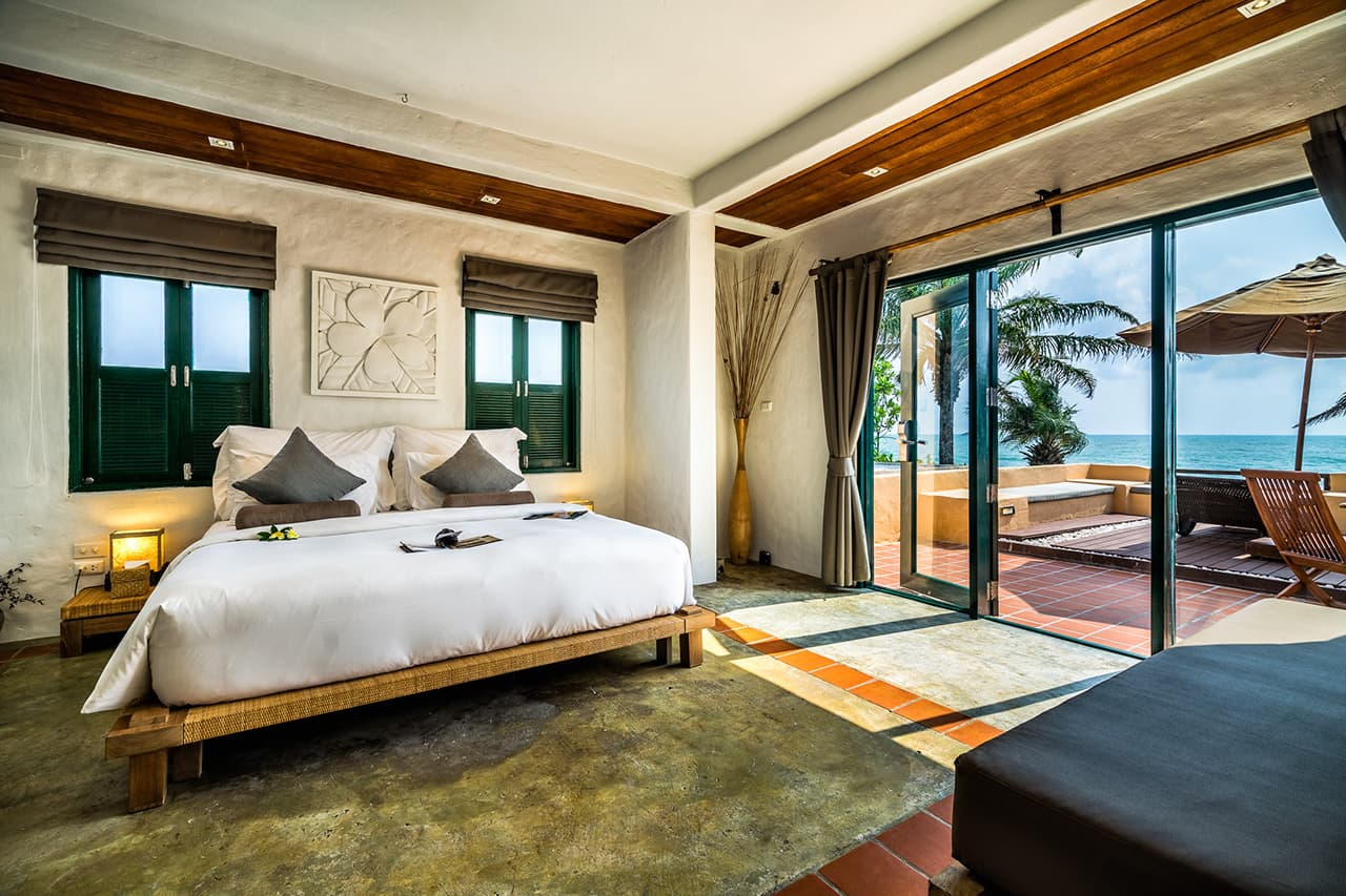 Frangipani Residence Bedroom Leading to Terrace and Sea Views - Aleenta Hua Hin Resort