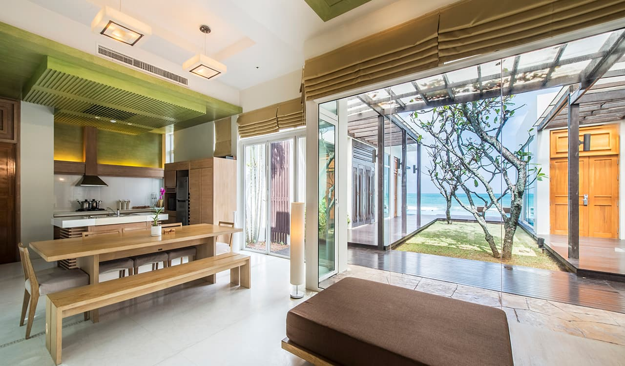 3 Bed Beach Villa - Open Plan Living Area, Kitchen and Sea View - Aleenta Phuket Resort & Spa