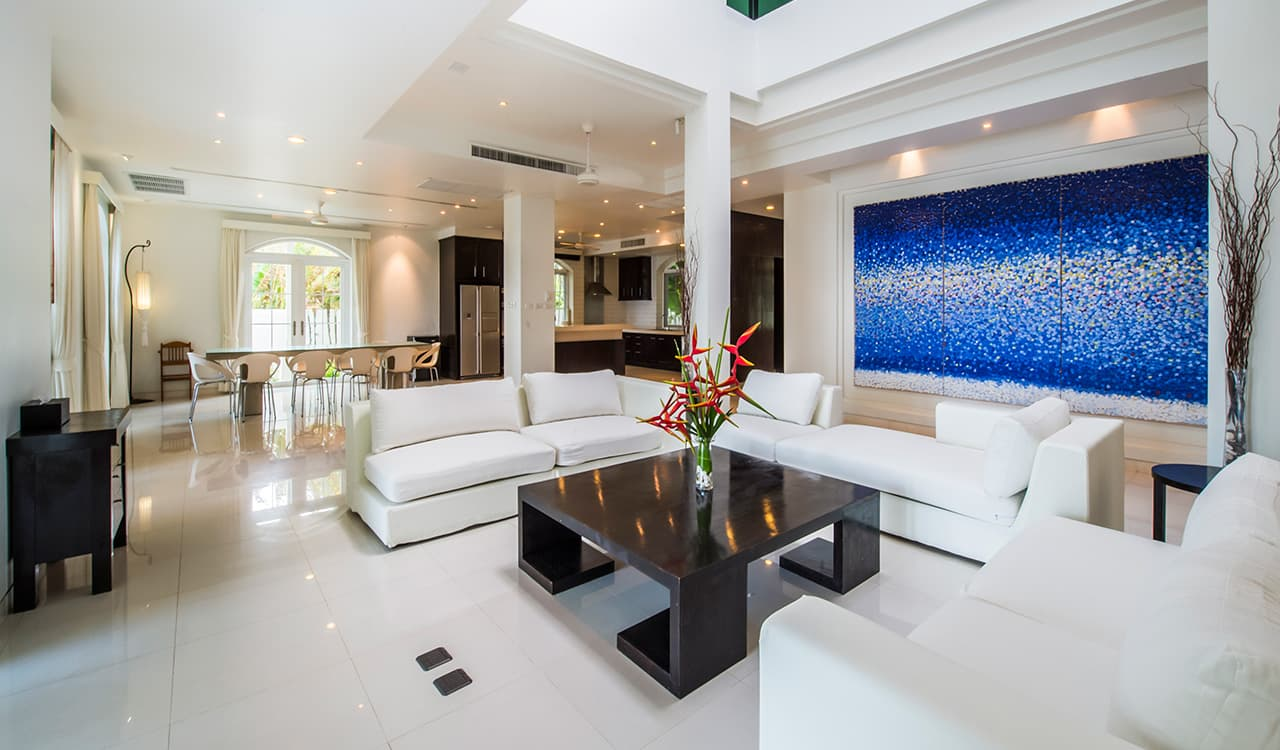 Villa Satis - Open Plan Living Room and Lounge Area - Aleenta Phuket Resort & Spa