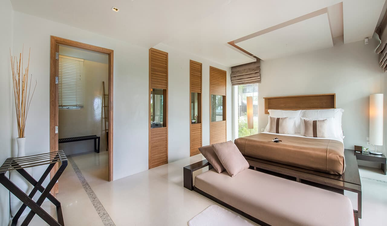 2 Bed Pool Villa Residence - Bedroom, Day Bed and En Suite Bathroom - Aleenta Phuket Resort & Spa