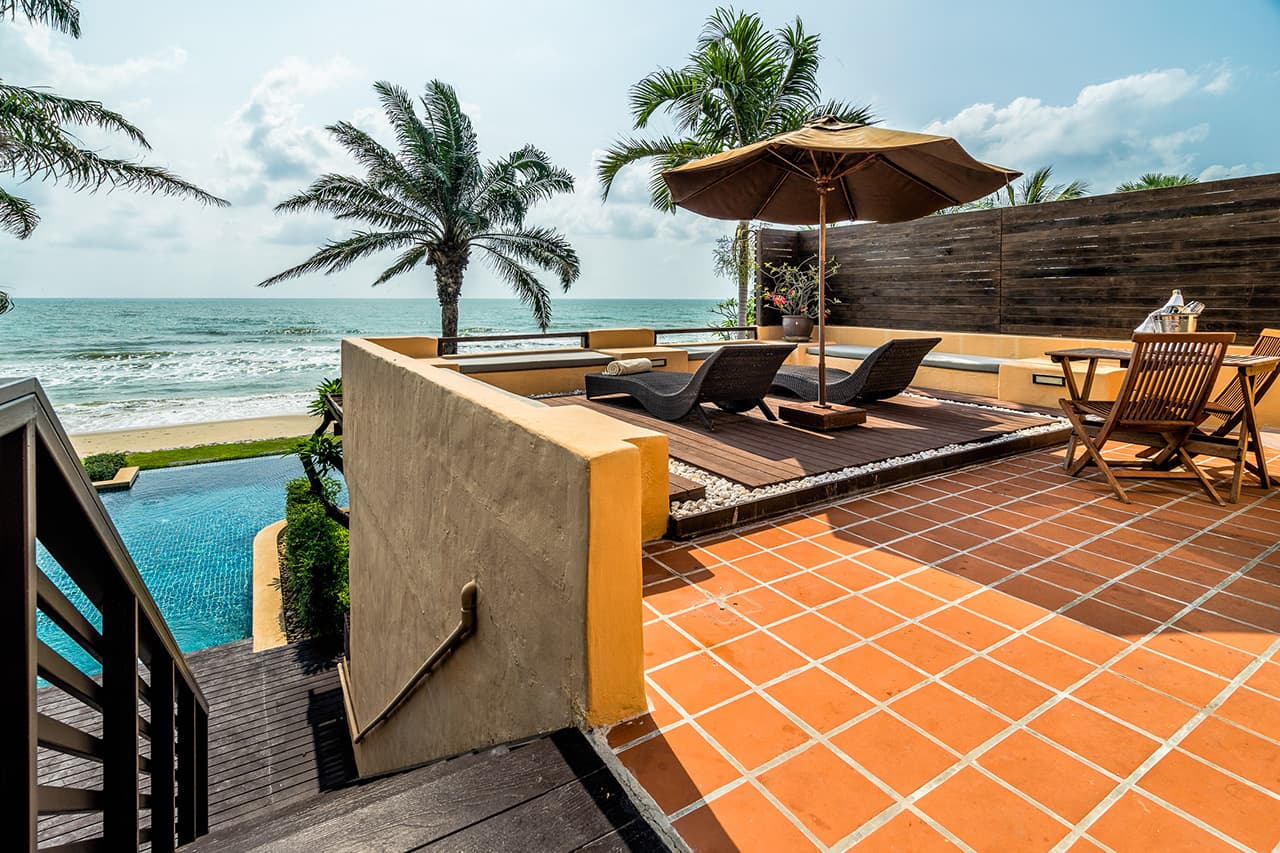 Frangipani Residences Top Floor Terrace Leading to Pool and Beach - Aleenta Hua Hin Resort