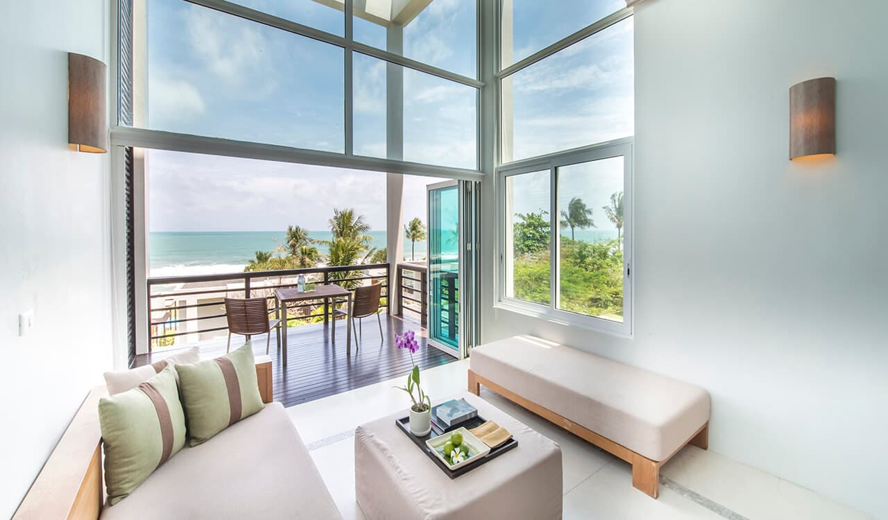 2 Bed Pool Villa Residence - Lounge with Balcony with Sea Views - Aleenta Phuket Resort & Spa