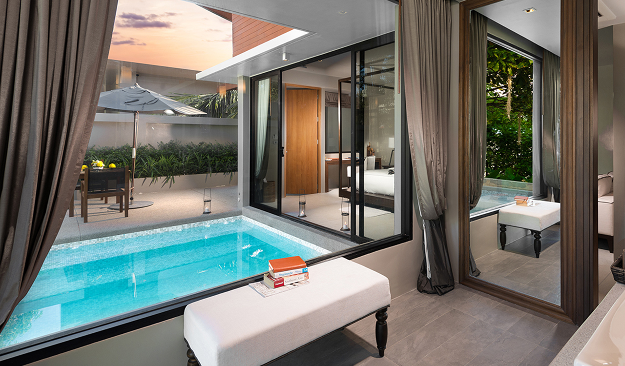 Aleenta Phuket Resort & Spa - Grand Deluxe Pool Villa Bedroom View of Private Pool
